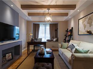 ,93平,6万,美式,两居,客厅,原木色,