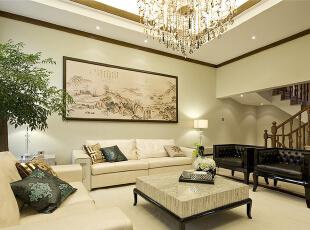 ,300平,45万,混搭,别墅,客厅,白色,