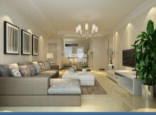 ,129平,4万,现代,三居,客厅,白色,