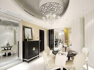 ,135平,8万,现代,三居,餐厅,白色,