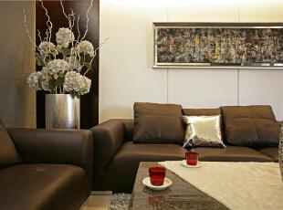 ,109平,9万,现代,三居,客厅,咖啡色,