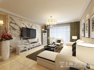锦艺城117平三室两厅现代简约风格样板间装修案例——电视背景墙,整体清新的色彩使得房间自然清新,117平,11万,现代,三居,客厅,