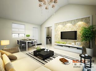【南昌实创整体家装】-英伦联邦现代简约客厅设计效果,现代,两居,客厅,简约,餐厅,