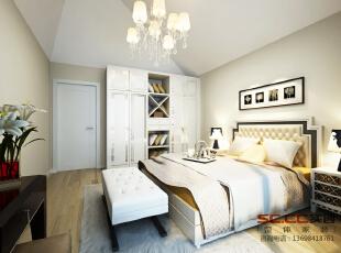 【南昌实创整体家装】-英伦联邦现代简约卧室设计效果,97平,10万,现代,两居,卧室,简约,
