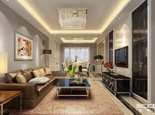 过多的颜色只会给人以杂乱无章的感觉,在现代风格中多使用一些纯净的色调进行搭配设计,这样无论家具造型和空间布局,才会给人耳目一新的惊喜。,146平,21万,现代,三居,客厅,