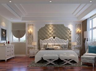 卧室软包的形式居多,给人整体的感觉是柔软的,舒适的,卧室没有运用很多的灯光,比如:灯槽,因为有足够的点光源,这样更能体现出灯光带来的色彩感受和灯光给人的层次感。,15万,欧式,两居,卧室,白色,