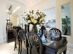 北京紫禁尚品国际装饰—餐厅 白色的地砖 在加上暖色的灯光打在地上 黑色的餐桌 整体干净温馨,137平,36万,田园,三居,餐厅,黑白,黄色,绿色,地中海,