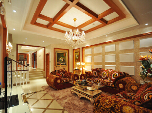 ,480平,220万,美式,别墅,客厅,白色,原木色,
