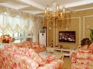 北京紫禁尚品国际装饰—客厅 客厅的摆设、颜色都能反映主人的性格、特点、眼光、个性等。客厅宜用浅色,用粉色来做搭配 让客人有耳目一新的感觉,使来宾消除一天奔波的疲劳。,277平,55万,田园,四居,客厅,黄色,粉色,黑白,绿色,