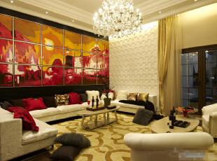 北京紫禁尚品国际装饰—客厅 客厅内的其他家具,大多有花纹、线条优美。由于选用的家具极为奢华现代,为了与整体空间相搭配, 配上背景墙的彩色画 时尚高档 特别的奢华 大气,350平,65万,韩式,四居,客厅,欧式,现代,黄色,红色,黑白,