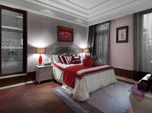 ,330平,70万,欧式,别墅,卧室,原木色,粉红色,