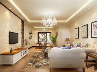 客厅是主人主要活动场所,在灯具选用上选取了水晶吊灯和和回形吊顶,突出线条感,客厅电视背景墙采用石膏造型,让线条感淋漓精致的体现,符合主人的审美情趣。,115平,9万,欧式,三居,客厅,白色,