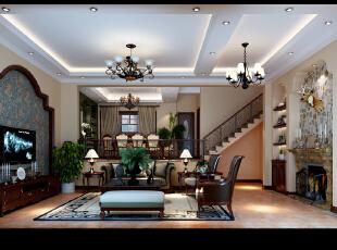 ,256平,40万,美式,别墅,客厅,白色,