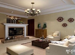 设计师将沙发背景加以延伸,配铁艺装饰,留出通往阳台的门,这样将客厅与阳台分开,视觉上美观的同时,给人感觉房子又多出一个房间,显得空间更大!,89平,7万,地中海,两居,