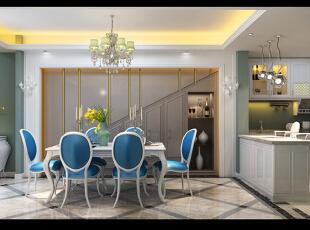 ,160平,8万,欧式,四居,餐厅,白蓝,