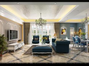 ,160平,8万,欧式,四居,客厅,白蓝,