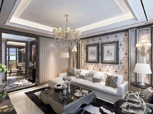 ,120平,8万,新古典,三居,客厅,白色,