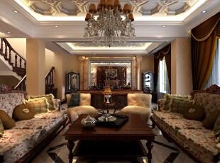 ,305平,22万,欧式,别墅,客厅,白黄,