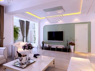 ,客厅,95平,白绿,11万,混搭,两居,客厅,白绿,