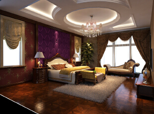 ,256.0平,15.0万,别墅,美式,卧室,白紫,
