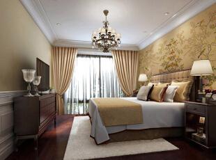 ,80平,6万,美式,两居,卧室,白黄,