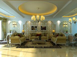 ,300平,19万,欧式,复式,客厅,白黄,