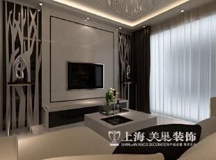 阳光城89平两室两厅现代简约风格样板间装修效果图--电视墙,89平,6万,现代,两居,客厅,黑白,