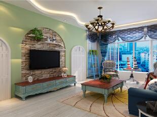 ,78平,7万,现代,两居,客厅,白绿,