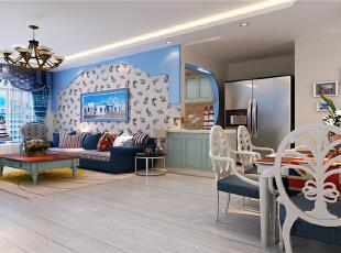 ,78平,7万,现代,两居,客厅,白蓝,