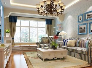 将设计元素、色彩、照明、原材料简化到最少的程度,但对色彩、材料的质感要求很高。简约的空间设计通常很含蓄,往往能达到以少胜多,以简胜繁的效果,以简洁的表现形式来满足人们对空间环境那种感性的、本能的和理性的需求!,88平,7万,地中海,两居,客厅,白蓝,