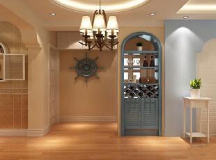 """简约不等于简单,它是经过深思熟虑后经过创新得出的设计和思路的延展,不是简单的""""堆砌""""和平淡的""""摆放"""",它凝结着设计师的独具匠心,既美观又实用。,88平,7万,地中海,两居,客厅,白蓝,"""