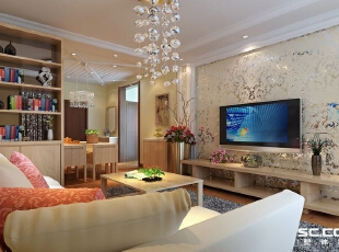 客厅经过精心布置,电视背景墙采用镜面雕花和石膏线相结合,大方得体,沙发侧边的边柜很好的利用了空间,增强了储物性能。布艺沙发,原木色的家具,无一不体现着一种舒适。,88平,7万,清新,两居,
