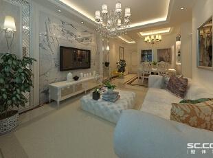 卧室设计中大量采用了艺术镜面,扩大了居室的空间效果;镜面配以满铺的木地板,让婚房卧室在舒适的氛围内,添加了梦幻效果。,90平,8万,欧式,两居,客厅,白色,