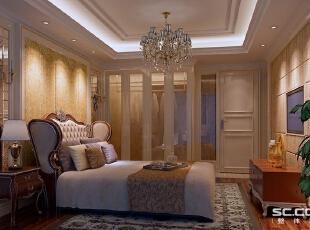 书房用对称式书柜和壁纸的搭配,配以实创整体家装产品中的进口地板,可以让主人在闲暇之余静下心来读书和办公。,90平,8万,欧式,两居,卧室,白色,