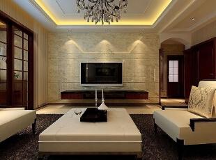 石材铺贴的电视背景墙明亮、大气。,198平,17万,现代,三居,客厅,白黄,
