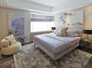 北京紫禁尚品国际装饰—卧室—现代中式,160平,42万,中式,三居,卧室,紫色,黑白,黄色,
