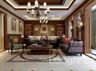 ,574平,30万,中式,大户型,客厅,原木色,