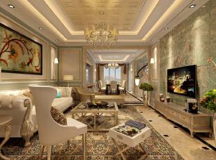 ,220平,21万,新古典,复式,客厅,黄色,