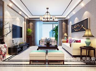 郑州锦艺轻纺城134平四室两厅新中式装修客厅效果图,134平,6万,中式,四居,客厅,白色,
