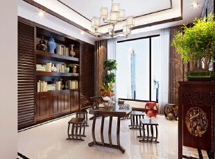 锦艺轻纺城134平四室两厅新中式装修茶水区效果图,134平,6万,中式,四居,客厅,白色,
