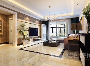 郑州日报社家属院146平三室两厅混搭风格客厅装修效果图,146平,7万,混搭,三居,客厅,白色,