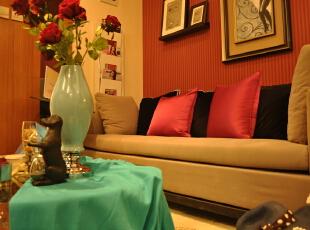 ,40平,宜家,一居,客厅,红色,