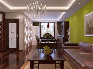 【实创整体家装】东南亚风格客厅效果图,90平,10万,混搭,两居,客厅,白绿,