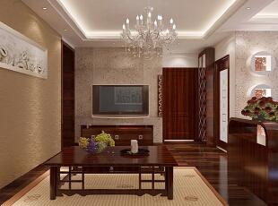 【实创整体家装】东南亚风格客厅效果图,90平,10万,混搭,两居,客厅,原木色,