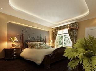 【实创整体家装】东南亚风格卧室效果图,90平,10万,混搭,两居,卧室,黄色,