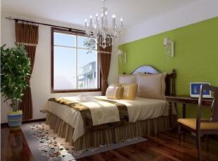 【实创整体家装】东南亚风格卧室效果图,90平,10万,混搭,两居,卧室,白绿,