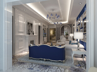 ,95平,11万,地中海,两居,客厅,白色,