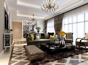 ,133平,18万,新古典,三居,客厅,黄色,