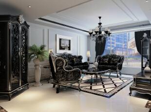 ,166平,22万,新古典,四居,客厅,黑白,