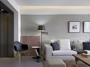 润城D3户型三室两厅133平方现代港式简约装修效果图 客厅     整体的色调采用高级黑白灰,稳重典雅、大方耐看,133平,10万,现代,三居,客厅,白色,